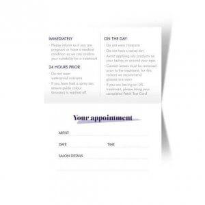 Nouveau Lashes Appointment Cards Pre Treatment Cards Back