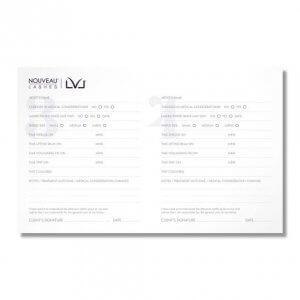Nouveau Lashes LVL Treatment Record Card Back