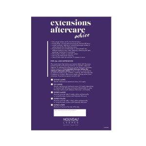 Nouveau Lashes Lash Extensions Aftercare Cards Front